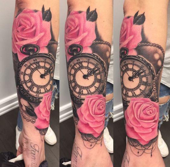 Tattos De Relojes Y Rosas (1)