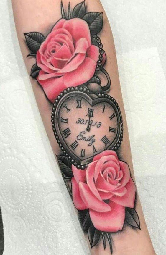 Tattos De Relojes Y Rosas (4)