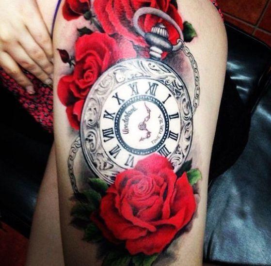 Tattos De Relojes Y Rosas (5)
