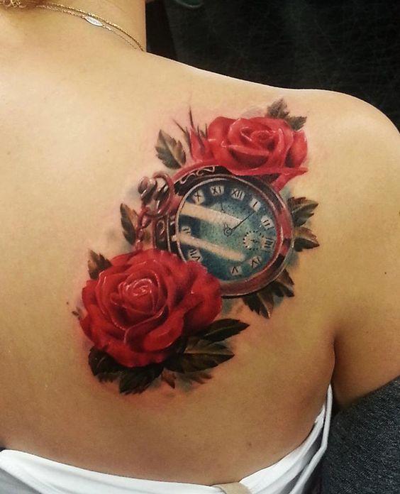 Tattos De Relojes Y Rosas (6)