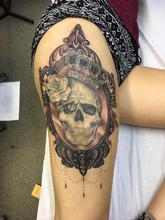 Tatouage De Crâne En Miroir (8)