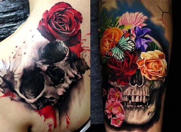 Tatouage De Crâne Rose (3)
