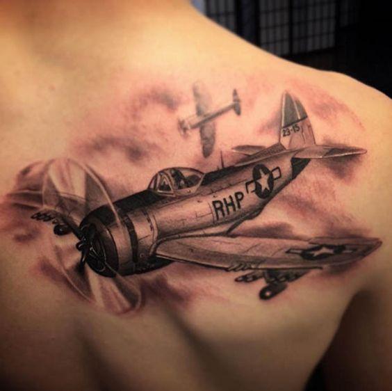 Tatouage Avion Homme (2)