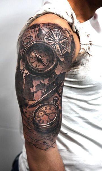 Tatouage Boussole Horloge (1)
