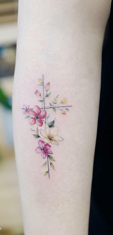 Tatouage Crois Fleur (6)