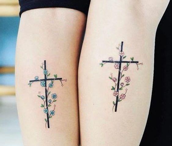 Tatouage Crois Fleur (9)