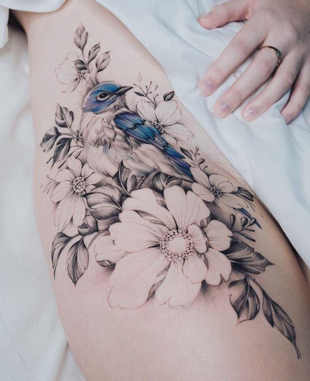 Tatouage Fleurs Jambes (10)
