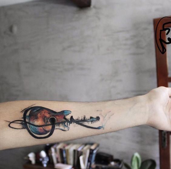 Tatouage Guitare Minimaliste (6)