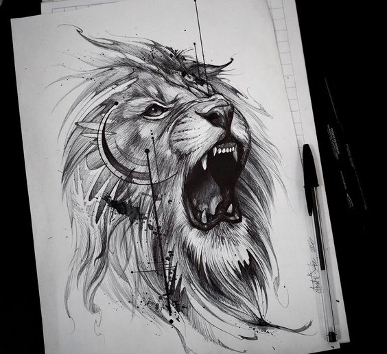 Tatouage Lion Design (2)