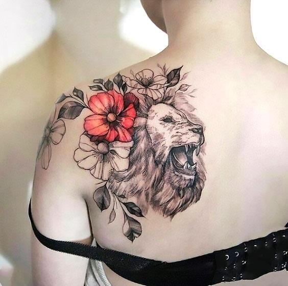 Tatouage Lion Femme (10)