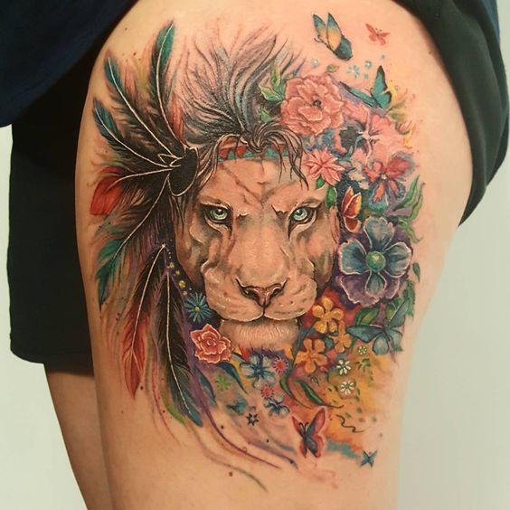 Tatouage Lion Femme (7)