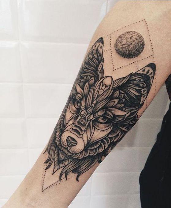 Tatouage Loup Et Lune (3)
