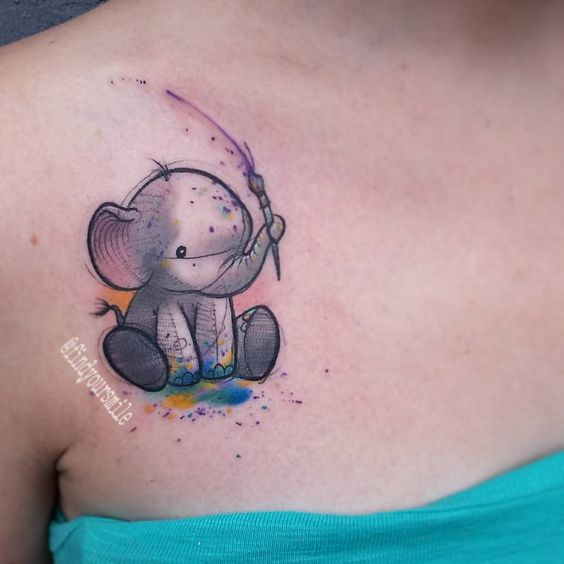 Tatouages Elephant Simple (10)